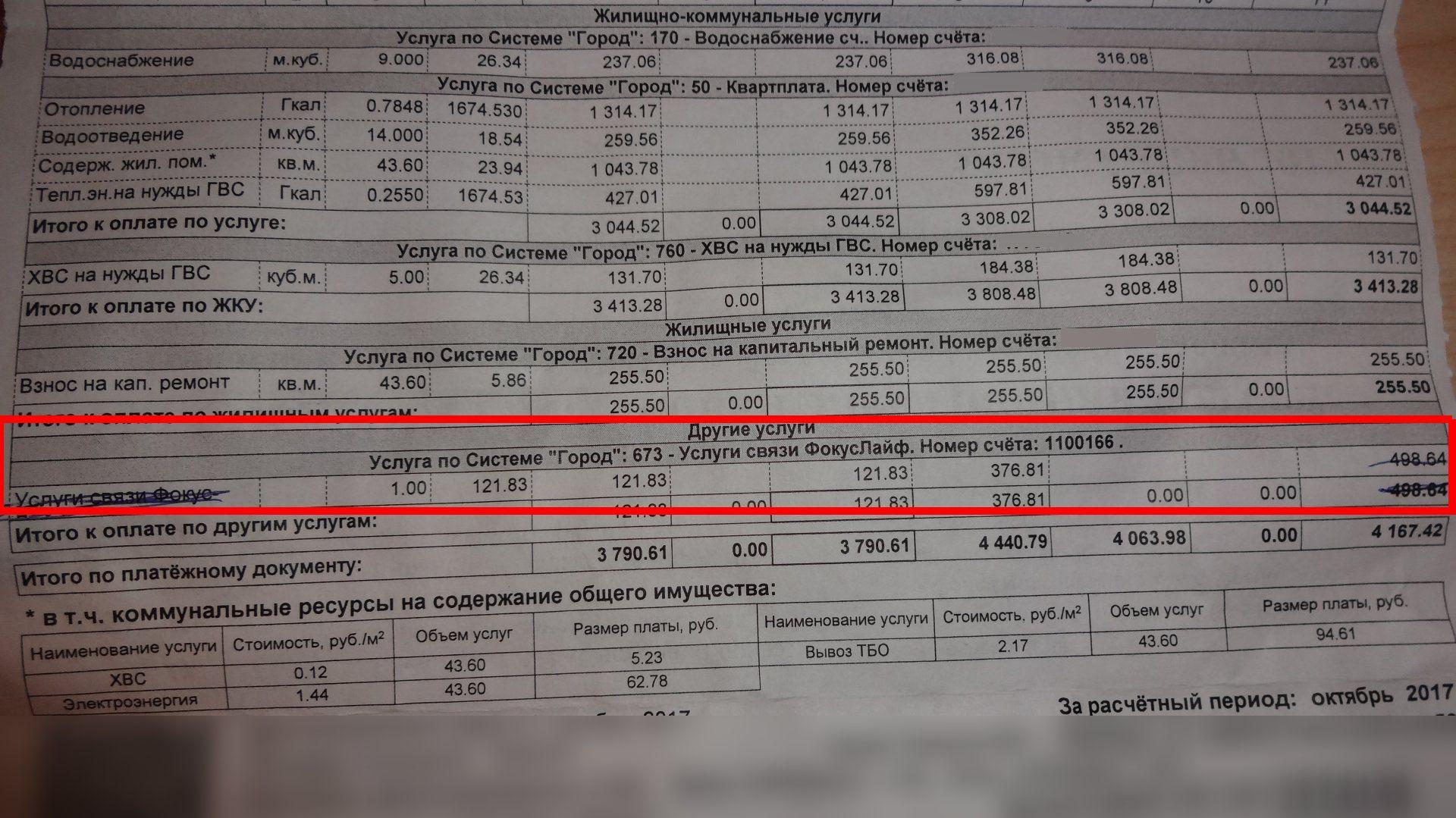 Сумма к оплате, за несуществующие услуги